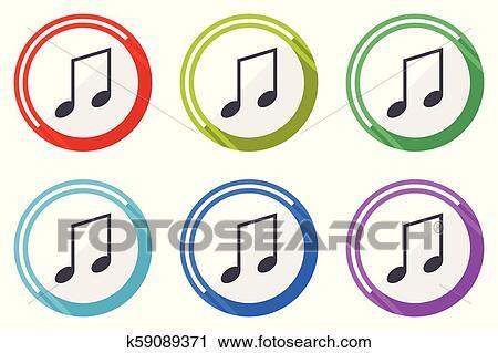 Musica Vetorial Icones Jogo De Coloridos Apartamento