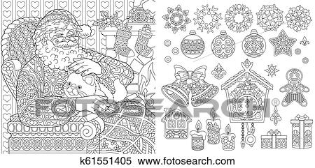 Christmas Deer with Light Bulbs Garland Zentangle coloring page ... | 241x450