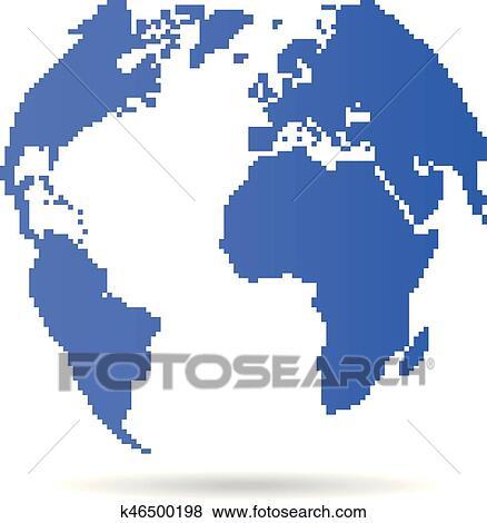 Pixel Earth Globe Vector Illustration 8 Bit Globe Clip Art K46500198 Fotosearch