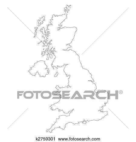 Carte Royaume Uni Noir Et Blanc.Royaume Uni Carte Clipart