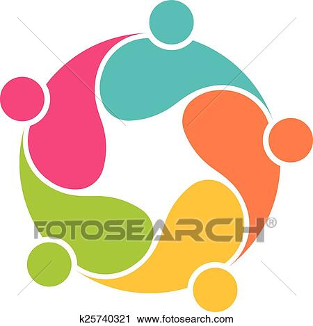 clipart of team 5 community circle interlaced k25740321 search rh fotosearch com community clip art images community clip art free