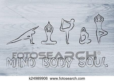 ヨガ 促される イラスト 心 肉体と精神 イラスト K24989906