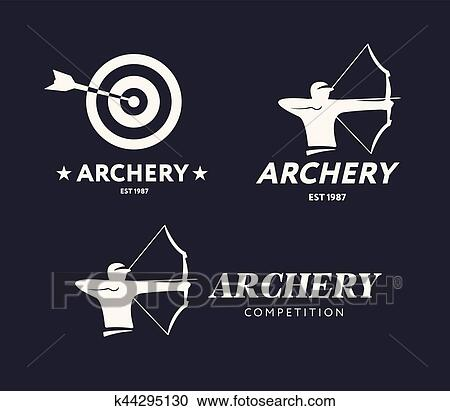 Abstract archery logo  Vector badge concept  Archer with sport bow and  target with arrow  Archery competition  Clipart