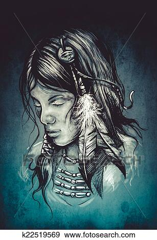 Stock Photograph Of American Indian Woman Tattoo Sketch Handmade