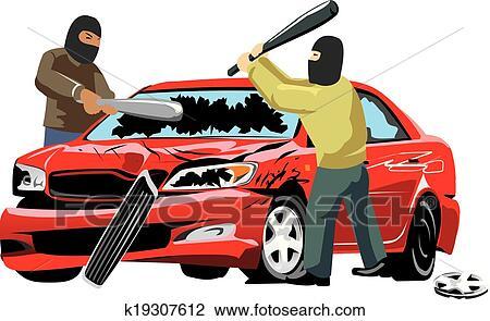 Clipart Auto Vandalismus K19307612 Suche Clip Art Illustration