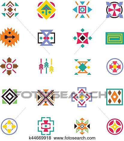 Clip Art - azteca, pertenencia étnica, estilo, signs., indio ...