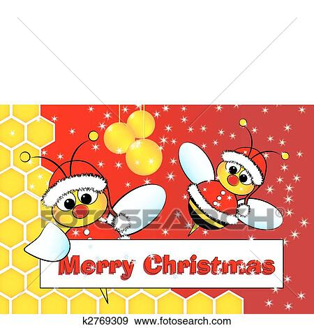 Clip Art Of Christmas Card With Bees Santa Claus And Beehive
