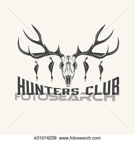 Deer Skull With Ducks Vector Design Template Clip Art