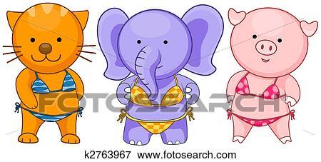 50c3df4df7c2fc Stock Illustraties - dieren, in, badkleding. Fotosearch - Zoek EPS Clipart,  Tekeningen