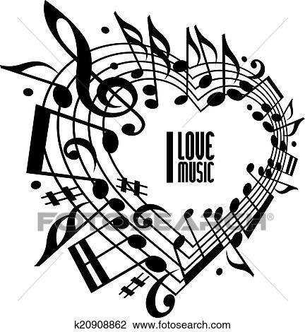 clipart - ich, liebe, musik, begriff, schwarz weiß, design