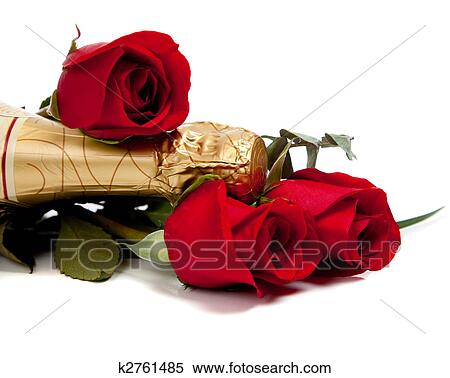 Stock Image Of Neck Of A Champagne Bottle With Red Roses On White