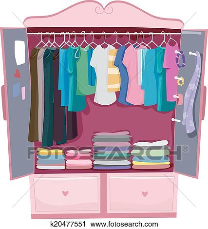 Armoire Dessin clipart of pink armoire k20477551 - search clip art, illustration