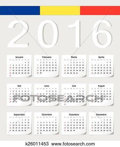 Calendario Rumeno.Rumeno 2016 Calendario Clipart