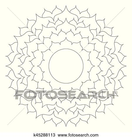 Vector Black And White Round Simple Mandala Lotus Flower Adult