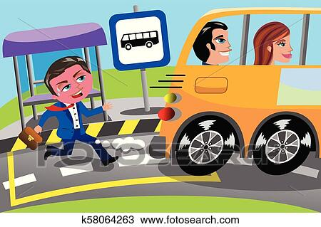 Clipart Of Businessman Running Late Bus Stop Missed K58064263