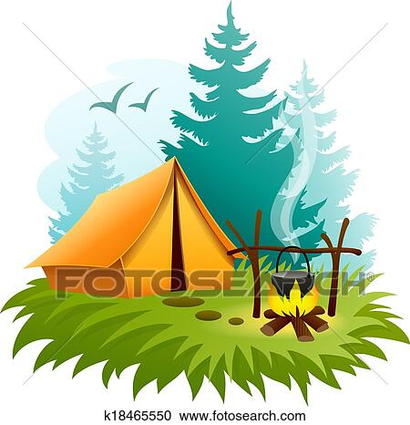 Clipart Of Camping In Forest With Tent And Campfire K18465550