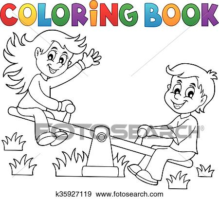 Clip Art of Coloring book children on seesaw theme 1 k35927119 ...