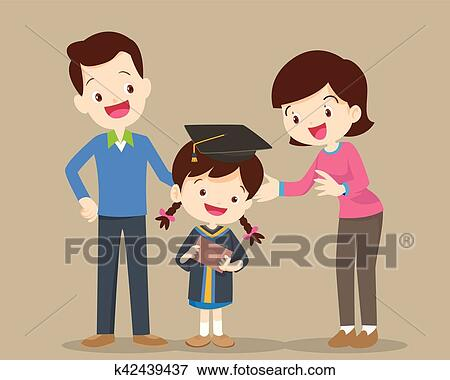 64ec5491925 Parents standing proud and happy of daughter holding diploma on graduation  day ceremony. happy school kids graduation with dad and mom. Happy graduate  boy.