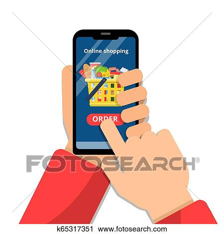 Clipart Of Grocery Basket Online Hands Holding Smartphone And Make