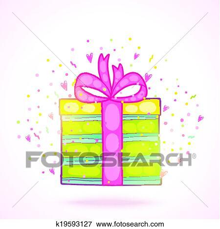 Clip Art Of Happy Birthday Present Gift Box With Confetti K19593127