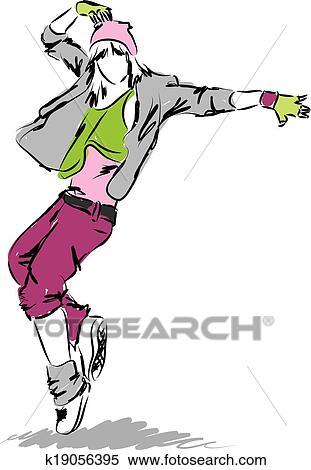clipart of hip hop dancer dancing illustration k19056395 search rh fotosearch com hip hop clip art images hip hop clip art images