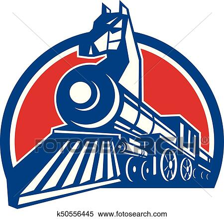 clipart of iron horse locomotive circle retro k50556445 search rh fotosearch com locomotive clipart locomotive clipart free
