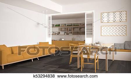 Minimalista, cucina, e, soggiorno, con, divano, tavola, e, sedie ...