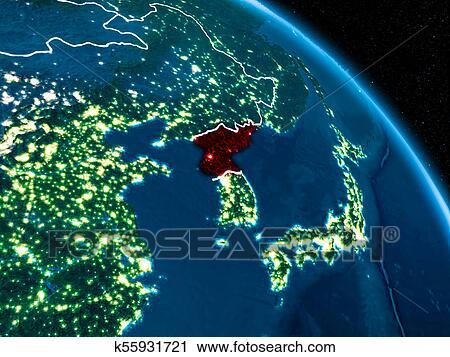 Satellite view of North Korea at night Clip Art | k55931721 ... on seoul korea at night, map of south north korean peninsula night, map of us at night, earth from satellite at night, texas satellite at night, map of south korea night, aerial view of north korea at night,
