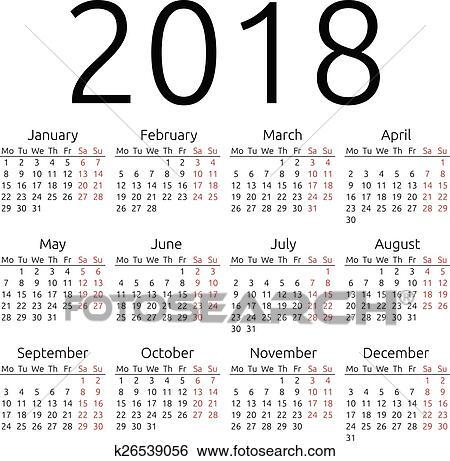 clip art simple vector calendar 2018 fotosearch search clipart illustration posters