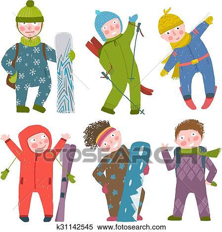 Skier Snowboarder Winter Clothes Sport Kids Collection