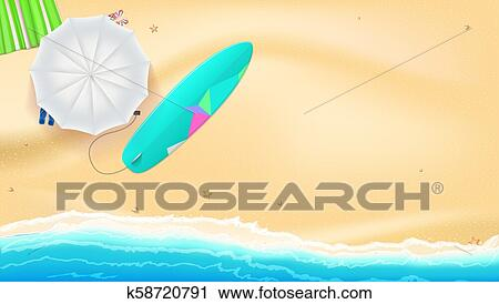 clipart of summer beach with sand on the seashore umbrella mat