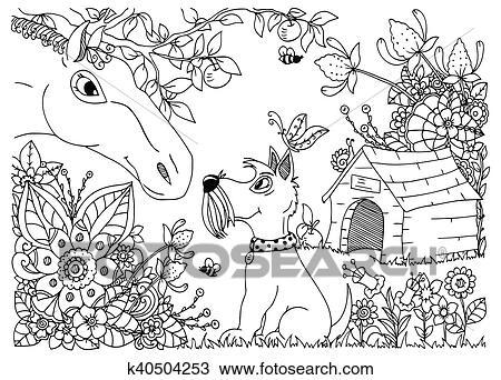 Vektor Abbildung Zentangl A Pferd Und Hund In Dass Flowers Gekritzel Blumen Drawing Nachdenklich Exercises Ausmalbilder Anti