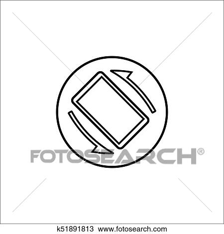 Clipart Of Auto Rotation Line Icon Mobile Sign K51891813