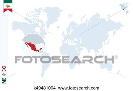 Blue world map with magnifying on Mexico. Clipart