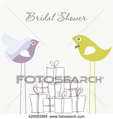 Clipart of bridal shower invitation with two cute birds in bride and bridal shower invitation with two cute birds in bride and groom costumes sitting on the present boxes filmwisefo