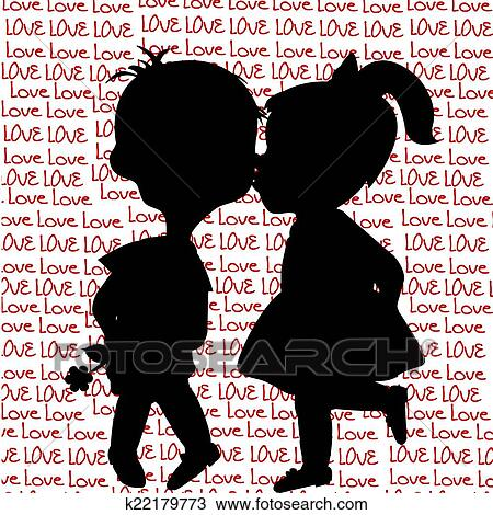 Card With Cartoon Silhouettes Of A Boy And A Girl Kissing Drawing
