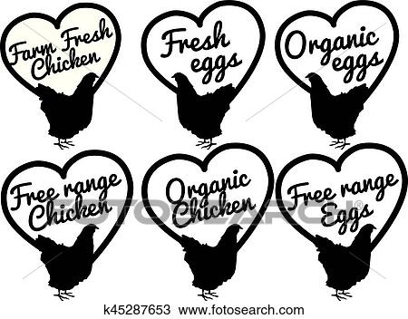 Chicken And Eggs Farm Fresh And Free Range Clipart