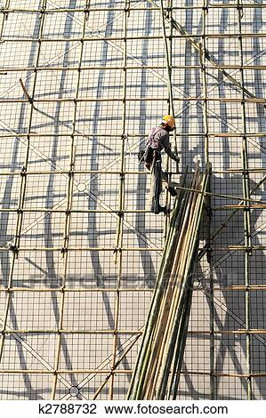 Stock Foto Gebaude A Gerust Mit Bambus In Hongkong K2788732