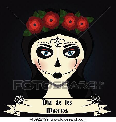 Clip art of girl with sugar skull calavera make up mexican day of girl with sugar skull calavera make up and roses wreath mexican day of dead vector illustration dia de los muertos greeting card party invitation m4hsunfo