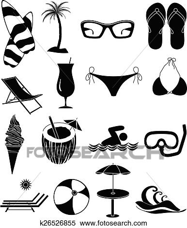 Clipart Of Summer Beach Fun Icons Set K26526855