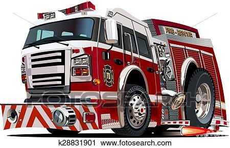 Klipart Vector Karikatürize Et Itfaiye Arabası K28831901