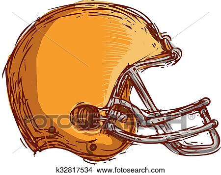 Clipart Of American Football Helmet Drawing K32817534 Search Clip