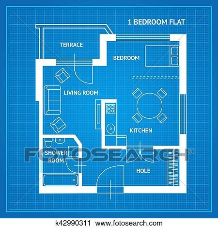 Clipart apartamento plano blueprint vector k42990311 buscar clipart apartamento plano blueprint vector fotosearch buscar clip art malvernweather Gallery