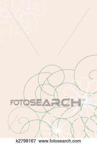 Bianco E Verde Linee Su Sfondo Beige Archivio Illustrazioni