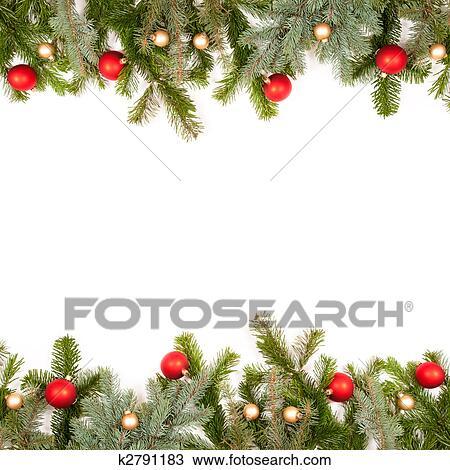 Fotorahmen Weihnachten.Grün Tanne Zweig Rahmen Mit Weihnachten Kugeln Stock Bild