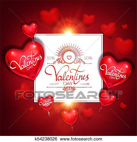 Clip Art Of Happy Valentine S Day Card Template With Colorful And