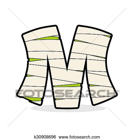 Letter M Mummy Typography Icon In Bandages Horrible Egyptian