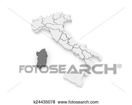 Stock Illustration Of Map Of Sardinia Italy K24435078 Search Eps