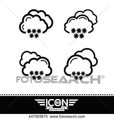 Clipart Schnee Wolke Symbol K47303675 Suche Clip Art