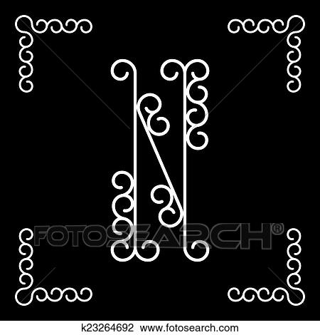 Clipart Of Vector Letter N Of The Alphabet K23264692 Search Clip